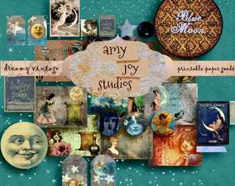 Blue Moon  Printable  Junk Journal Kit  Digital Journal Kits  Ephemera Pack  DIY journal  celestial  galaxy  stars  vintage paper