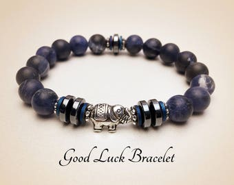 Elephant Bracelet. Good Luck Bracelet. Men's Mala Bracelet. Protection Bracelet. Healing Bracelet. Sodalite Bracelet. Blue Bracelet. #2M112