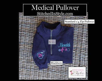 1/4 Zip Pullover, Nurse's-Medical-Monogrammed-Gift