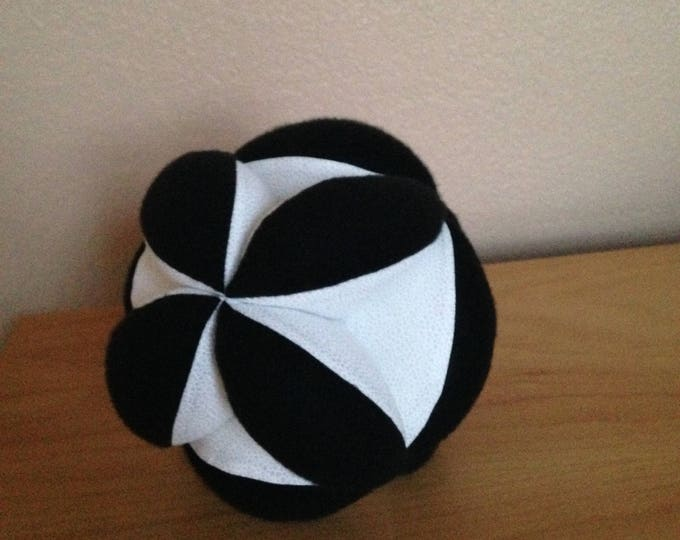 "8"" White and Black Soccer Ball. Montessori Puzzle Ball. Soft White Soccer Ball with Black Fuzzy Fleece insets. Sensory Learning Toy"