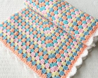 Pastel Granny Square Crochet Baby Blanket Baby Shower Gift
