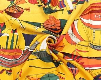 """HERMES SCARF Silk """"Les Folies du Ciel"""" by Loic Dubigeon Vintage 90cm Carre 100% Auth"""