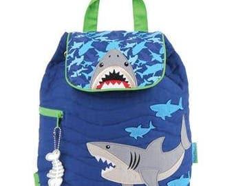 Stephen Joseph Quilted Backpack Shark Theme Monogrammed School Backpack