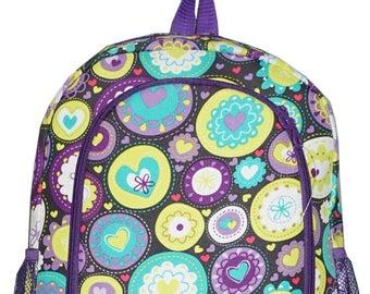 Purple Circle Print Monogrammed School Backpack
