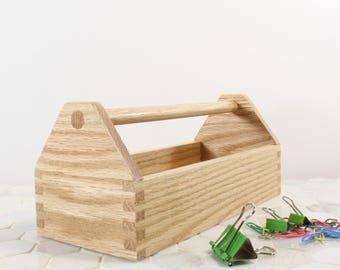 office storage bin office accesory tray little tool box oak desk accesory