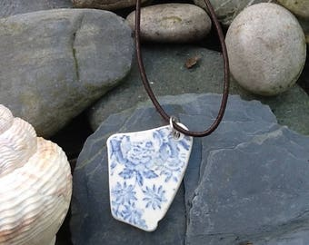 Treasure from the Sea - Cornish Sea China Pottery Necklace - Small Blue Flowers