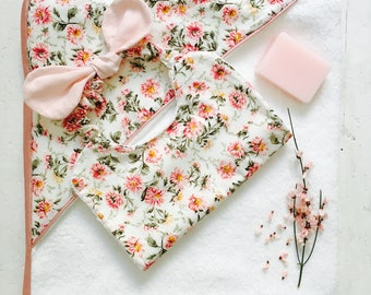 Hooded towel for baby - floral cotton