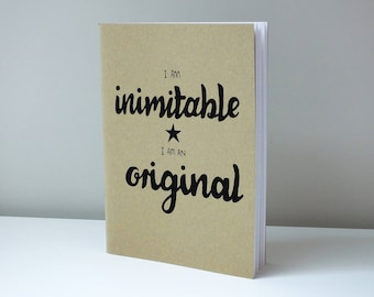 "Brown Hamilton Inspired Sketchbook with Hand-Drawn Design - ""I Am Inimitable, I Am An Original"""
