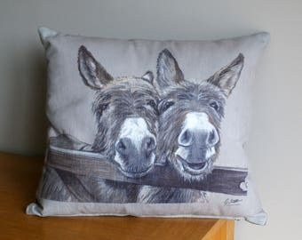Donkeys Over Gate Square Washable Cushion By Artist Grace Scott