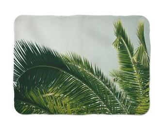 Tropical Blanket, Sherpa Blanket, Throw Blanket, Palm Tree Blanket, Tropical Decoration, Housewarming Gift, Winter Gift,  Sherpa Throw