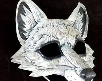 Arctic Fox Leather Mask