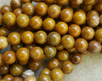 "Natural Gemstone Petrified Wood 8mm Round Beads - 16"" Strand"