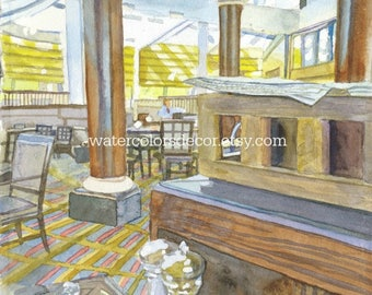 Breakfast watercolor print. Watercolor cafe. Dining room wall art. Watercolor art. Cafe wall art. Cafe picture. Watercolor painting.
