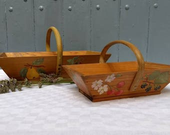 Charming French vintage hand painted wooden trug, rustic home or kitchen decor.