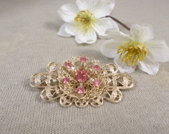 Beautiful Vintage Gold Tone Layered Filigree Brooch With Pink Crystal Rhinestones  DL#2840