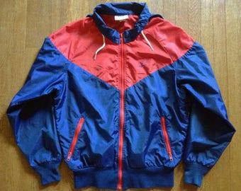 1970s Nike Navy and Red Hooded Windbreaker Jacket Minimalist