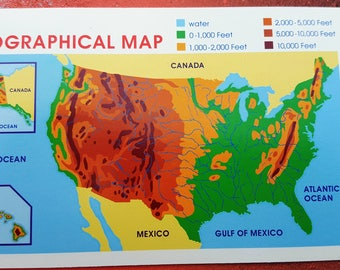 State Game Flash Cards, East Coast State, Topographical Map of USA, Game Cards by School Zone