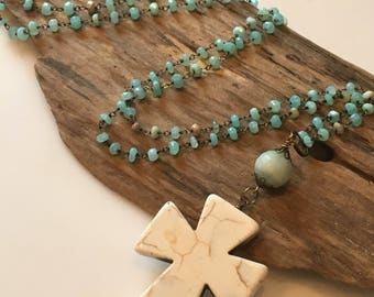 Beaded Pendant Cross Necklace, Long Beaded Boho Necklace, Aqua Blue, Beige and Cream Beaded Necklace, Cross Pendant, Gift for Her
