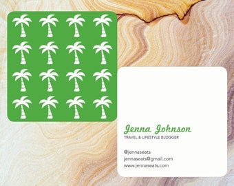 Palm Trees Square Rounded Edges Customizable Business Cards | Moo.com Compatible