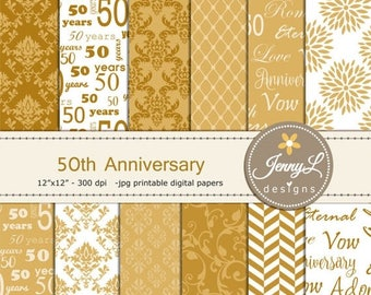 50% OFF 50th Anniversary Digital Papers, Golden Damask Wedding, Nuptial for Digital scrapbooking, Invitations