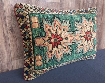 Handmade Pillow Cover, Cushion Cover, Afghan Rug Cushion, Turkish hand knotted rug pillow, Vintage Style Pillow cover