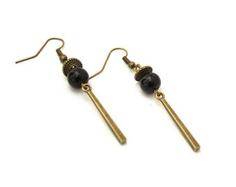 Dangling earrings / black earrings / Stud Earrings straight / rectangle earrings / earrings beads