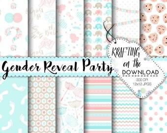gender reveal paper pack gender reveal digital paper gender reveal background boy girl papers blush and aqua paper pack gender reveal party