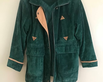 Vintage 80s / 90s Preston & York Forest Green Suede Leather Utility Coat