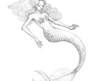 Melancholic Mermaid ORIGINAL Drawing