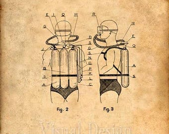 Diving Unit Air Tank Patent Art Print - Patent Poster - SCUBA Diving Art - Diver