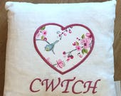 Cwtch Heart Cushion White Linen Bird Trail. 14 handmade personalised Cushion Hand Made CushionHandmade Decorative Pillow