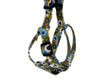 Small Mossy Green Floral Step-In Dog Harness