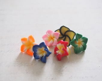 5 polymer clay flower beads multicolor 15x10mm