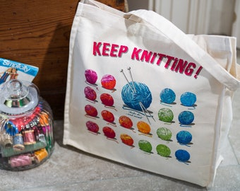 Keep Knitting Cotton Canvas Tote Bag