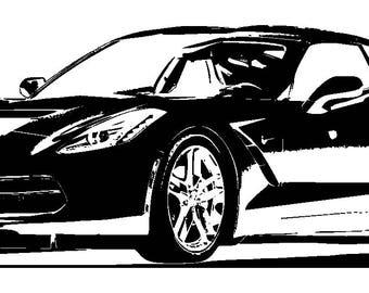 Chevy SVG File 2019 Chevrolet Corvette Stingray Clipart Vector File Signage Chevy Corvette