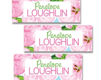 30 Waterproof Name Labels for Girls,Floral Design, Dishwasher Safe, Camp, Shcool and Daycare Labels