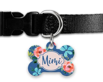 Personalized Pet ID Tag - Personalized Pet Tag - Custom Pet ID Tag - blue floral Dog Name Tag - Dog ID Tag - Dog Collar Name Tag