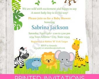 "SALE Custom Printed 4.25X5.5"" Wild Animals, Jungle, Safari, Boy, Girl, or Gender Neutral Baby Shower Invitations, envelopes included"