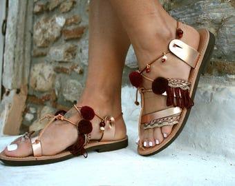 Metalic rose gold sandal-  Greek Leather Sandal-Zakynthos-Pom pom