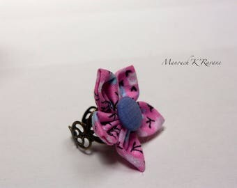 Origami fabric button, adjustable flower ring