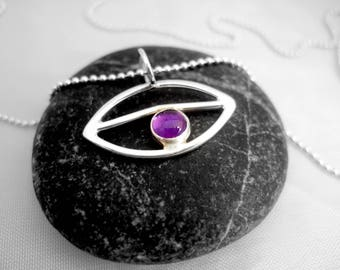 Silver pendant, all seeing eye pendant