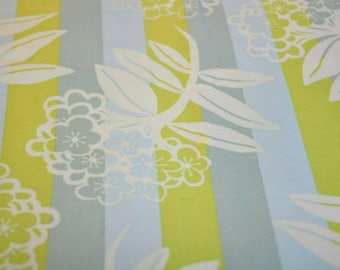 Fabric destash quilt cotton 1/2 yard Anna Maria Horner Chocolate Lollipop large  flowers on green blue stripe
