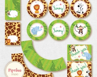 Jungle printables. Jungle birthday party. Safari printables. Lion, Zebra, Monkey, Elephant toppers.