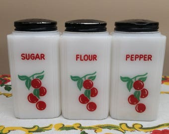 Tipp City Cherries Sugar, Flour and Pepper Shaker Set
