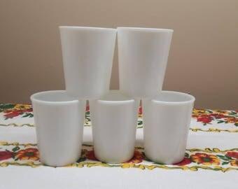 Vintage Milk Glass Tumblers Set