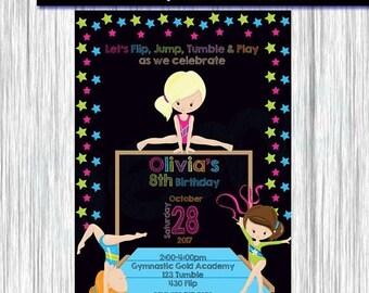 50% Off Gymnastic Invitation Girl, Gymnastic Invitation, Birthday Invitation Girl, Gymnastic Invite, Gymnastic Party, chalkboard, Gymnastic