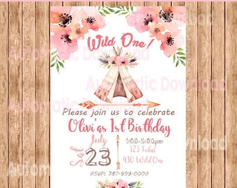 50%Off Wild One, Birthday Tribal, Invitation, Wild One Invitation, Wild One Birthday, Wild One Party, Tribal Birthday, Tribal Baby Shower, I