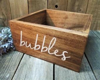 Wooden bubbles box, wedding bubbles holder, rustic wedding decor, wood wedding box, party bubbles, wedding send off, wedding send away