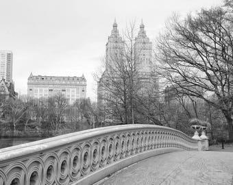 Central Park Art, Bow Bridge, New York, Black and White Photography, NYC, San Remo Apartments, Landscape, Manhattan, Wall Art, Home Decor