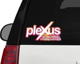 """Plexus Worldwide Window Decal Custom New Slim Print Outline 11.5"""" x 6.1"""" (Glossy)"""
